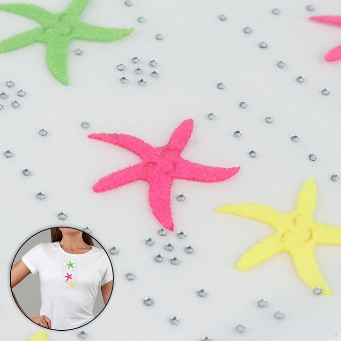 Термоаппликация со стразами «Звезды», 14,5 × 7 см, 10 шт на листе