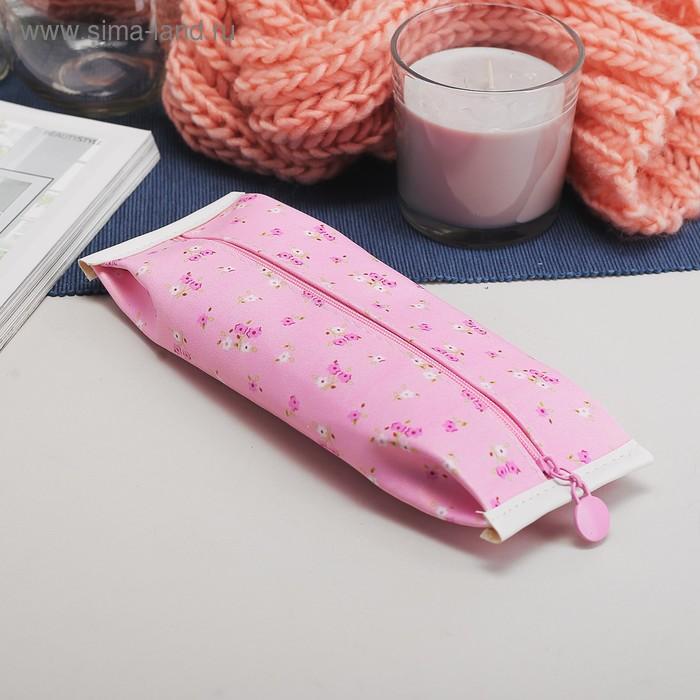 Косметичка-футляр на молнии, 1 отдел, цвет розовый
