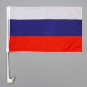 Флаг 45х30 см России, шток для машины, 45 см, полиэстер, пластик ( 12шт) Ош