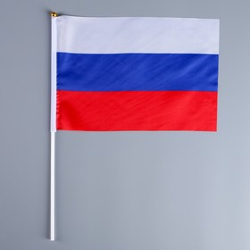Флаг 20х28 см России без герба, шток+присоска, 40 см, полиэстер, пластик Ош