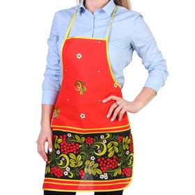 "Apron ""Khokhloma"", gift without pockets"