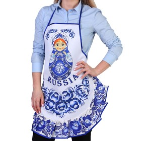 "Apron ""Matryoshka"" Gzhel souvenir, with flounce, no pockets"