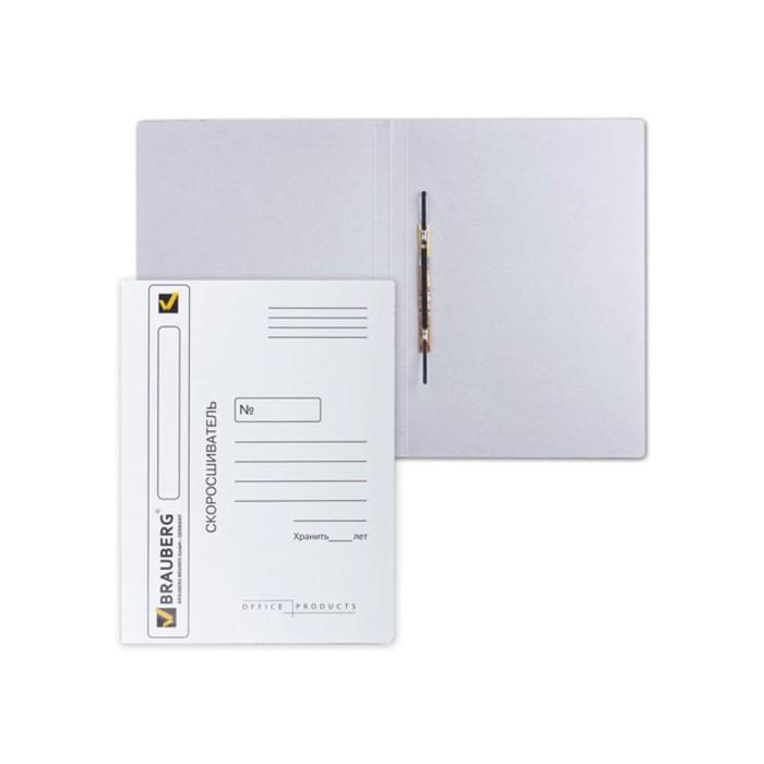 Скоросшиватель 320 г/м2 BRAUBERG мелов.картон, до 200л., белый 121512