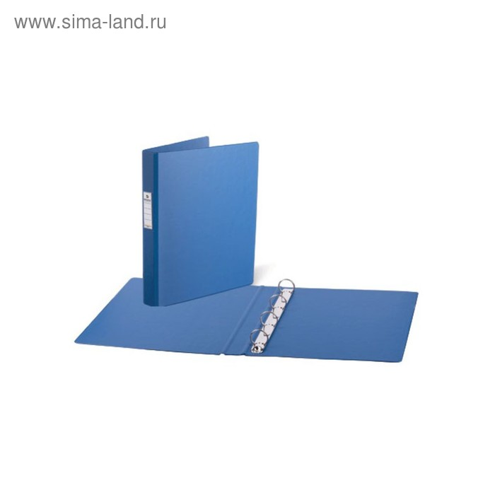 Папка на 4 кольцах, А4, BRAUBERG 35 мм, картон/ПВХ, синяя