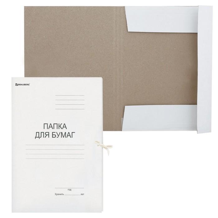 Папка д/бумаг А4 на завязках 300г/м2 BRAUBERG ГЕРБ РОССИИ бел 124567