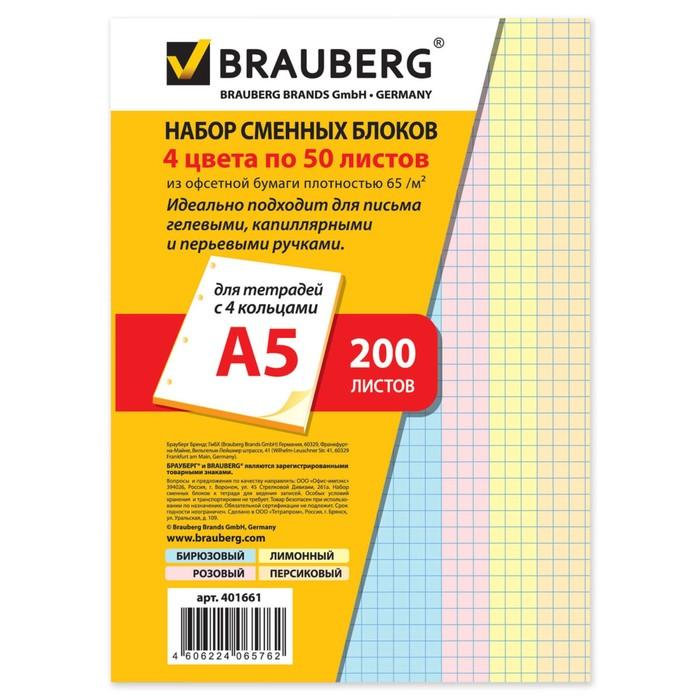 Сменный блок д/тетради на кольцах А5 200л BRAUBERG, 4цв 401661