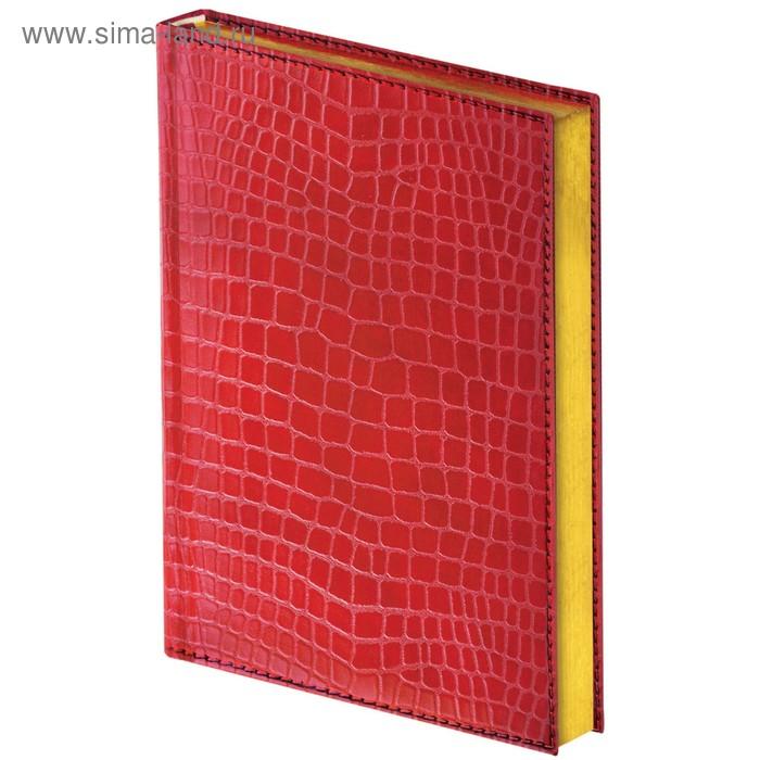 Ежедневник полудатированный А5, 192 листа BRAUBERG Alligator, под крокодиловую кожу, красный