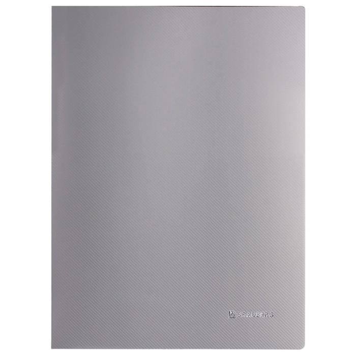 Папка c зажимом BRAUBERG Диагональ 0,6мм, внутр.карман, серебряный 221358