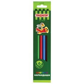 Карандаши ПИФАГОР 'Жираф', 6 цветов, пластиковые, классические, заточенные Ош