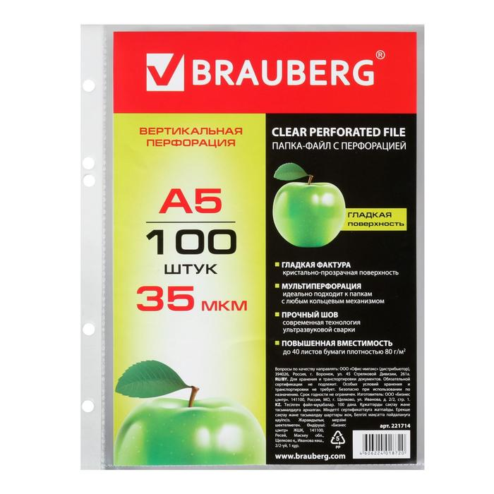 """Папка-вкладыш с перфорацией BRAUBERG """"Яблоко"""" А5, 35мкм, гладкие (100шт в упак.) 221714"""