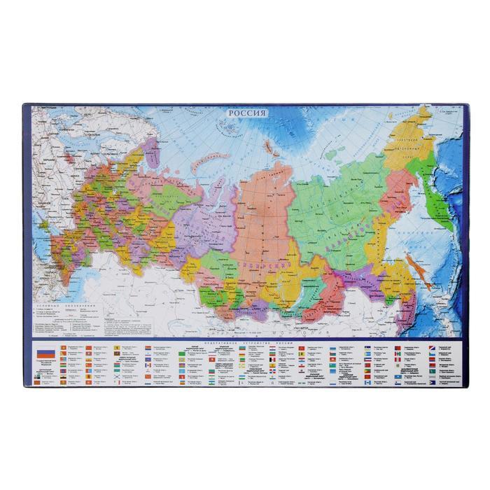 Покрытие настольное 38х59см BRAUBERG, карта России 236776