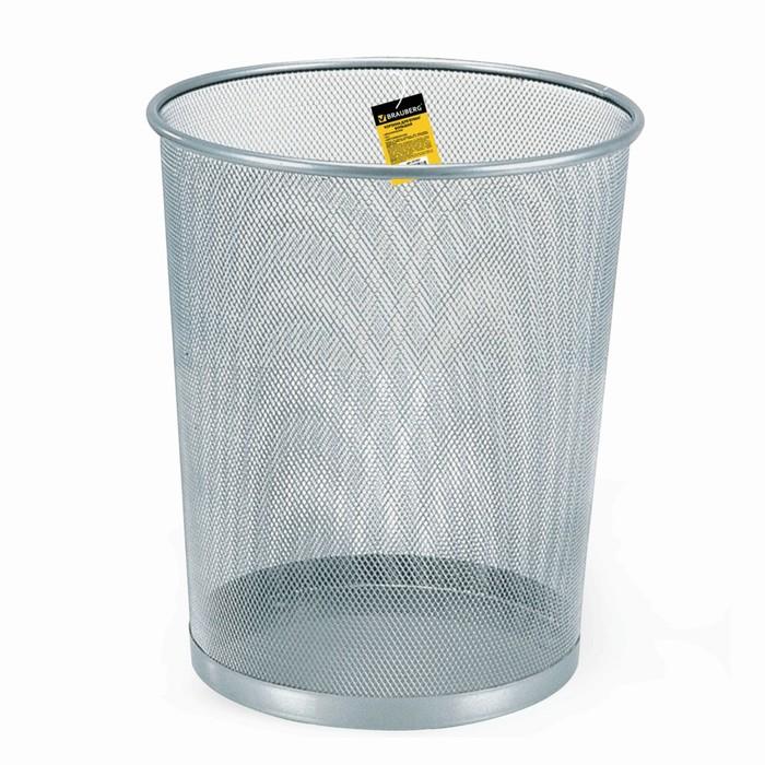Корзина для бумаг 20 литров BRAUBERG Germanium, металлическая, серебристая