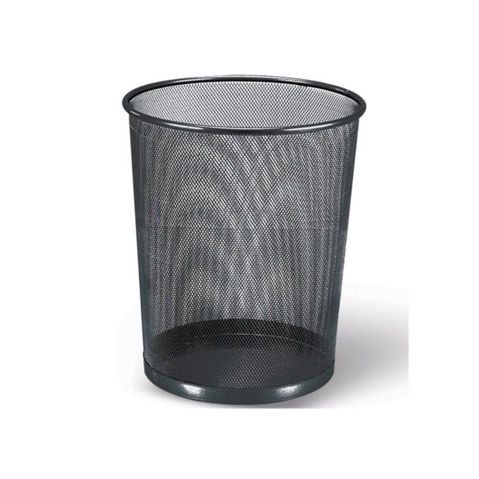 Корзина для бумаг 20 литров BRAUBERG Germanium, металлическая, чёрная