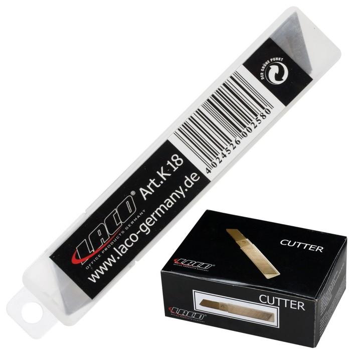 Лезвия для канцелярского ножа 18 мм, 10 штук LACO, в пластиковой тубе