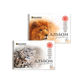 Альбом для рисования BRAUBERG «Благородные кошки», А4, 40 листов на гребне, 110 г/м2