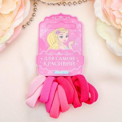 """Резинка для волос """"Махрушка """" набор 10 шт розовый"""