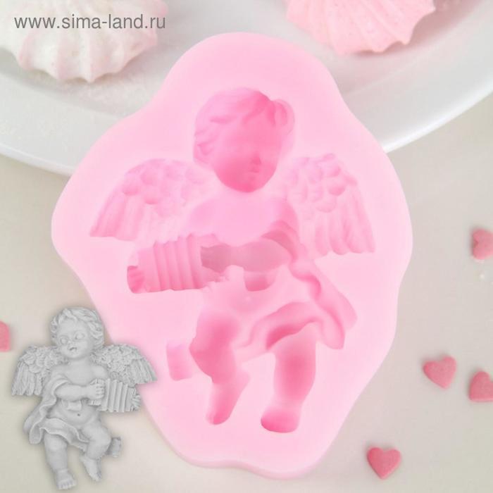 Молд силиконовый «Ангел с гармошкой», 9×7,4×2 см, цвет МИКС - фото 308041426
