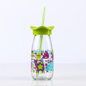 """Бутылка 250 мл """"Молочный путь"""", с трубочкой, рисунок и цвета МИКС"""