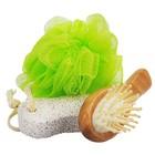 Банный набор Beauty Format, мочалка, щетка для волос, пемза натуральная (45849-4377)