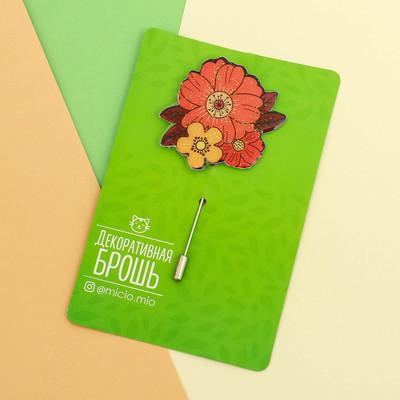 """Брошь на открытке """"Цветы"""""""