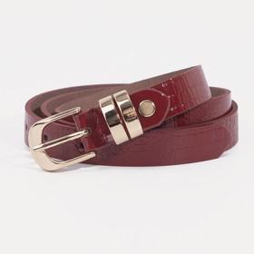 Ремень женский, ширина - 2 см, винт, пряжка золото, цвет красный