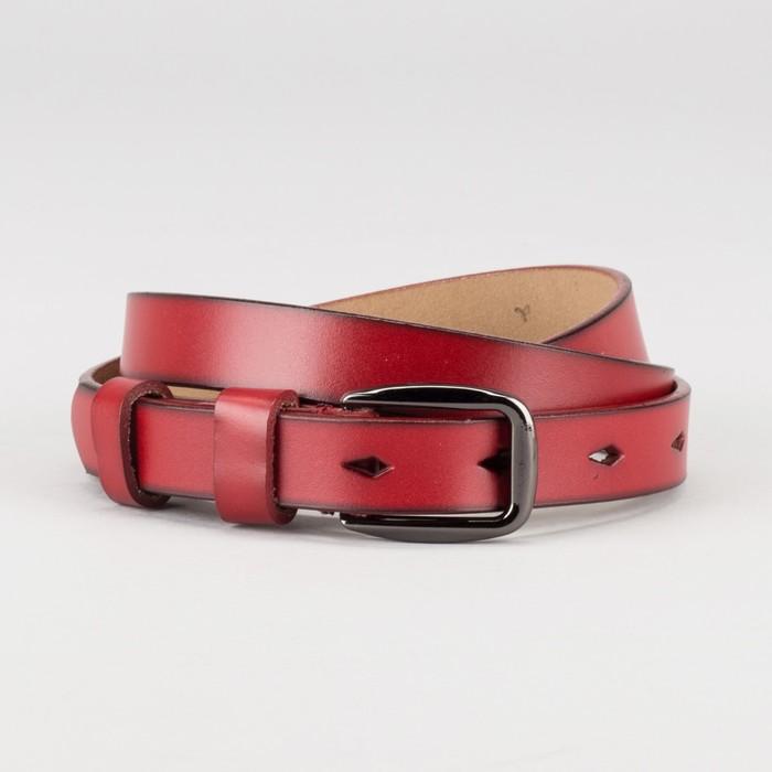 Ремень женский, ширина - 1,8 см, гладкий, винт, пряжка тёмный металл, цвет красный