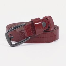 Ремень женский, ширина - 2 см, винт, пряжка тёмный металл, цвет красный