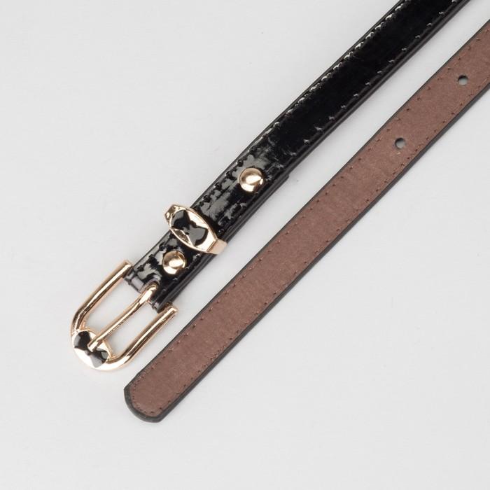 Ремень женский, ширина - 1,4 см, пряжка золото, 2 строчки, цвет чёрный