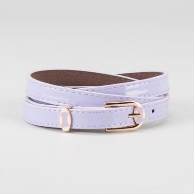 Waist belt for women, width 1.4 cm, buckle gold, 2 lines, color lilac