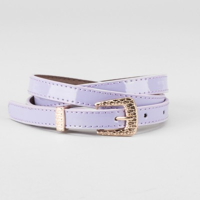 Waist belt for women, width 1.4 cm, buckle gold, 2 lines, color lilac