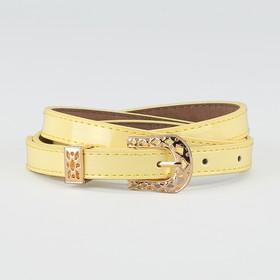 Ремень женский, ширина - 1,4 см, пряжка золото, 2 строчки, цвет жёлтый