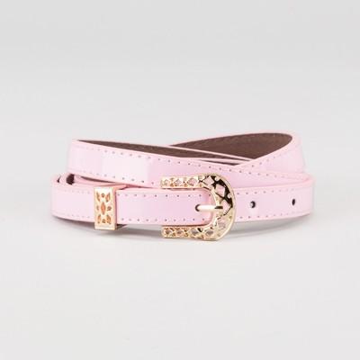 Waist belt for women, width 1.4 cm, buckle gold, 2 lines, color pink