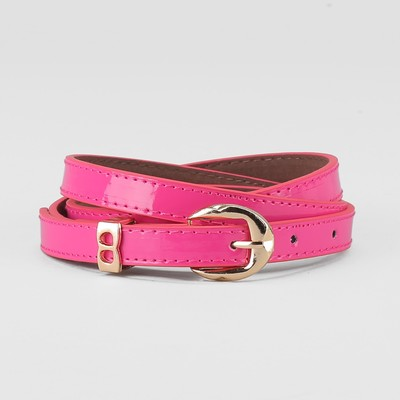 Waist belt for women, width 1.4 cm, buckle gold, 2 lines, color raspberry