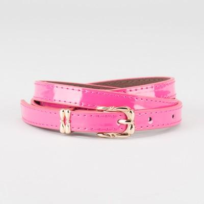 Waist belt for women, width 1.4 cm, buckle gold, 2 lines,color raspberry
