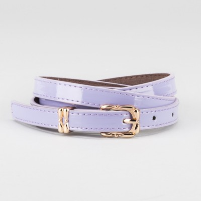 Waist belt for women, width 1.4 cm, buckle gold, 2 lines,color lilac