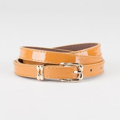 Waist belt for women, width 1.4 cm, buckle gold, 2 lines,color brown
