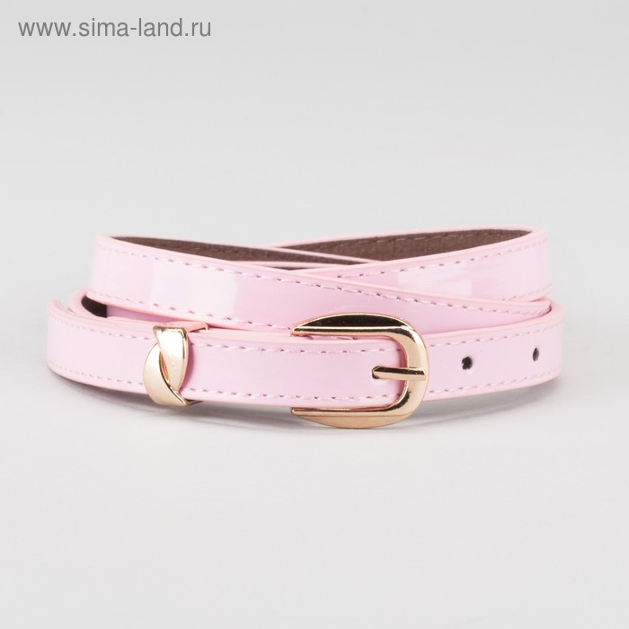 Ремень женский, ширина - 1,4 см, пряжка золото, 2 строчки, цвет розовый