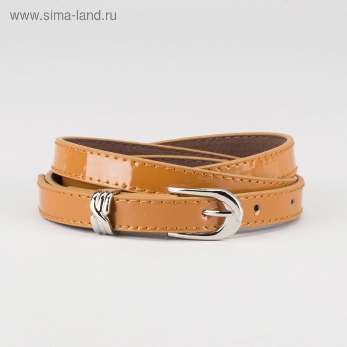 Ремень женский, ширина - 1,4 см, пряжка металл, 2 строчки, цвет коричневый