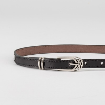 Ремень женский, ширина - 1,4 см, пряжка металл, 2 строчки, цвет чёрный