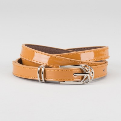 Waist belt for women, width 1.4 cm, buckle metal, 2 lines, color brown