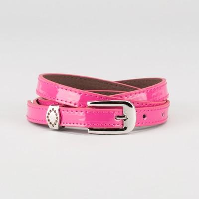 Waist belt for women, width 1.4 cm, buckle metal, 2 lines, color raspberry