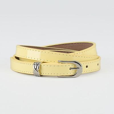 Waist belt for women, width 1.4 cm, buckle metal, 2 lines, color yellow