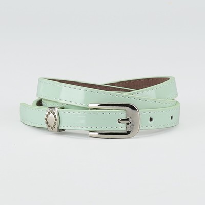 Waist belt for women, width 1.4 cm, buckle metal, 2 lines, color mint