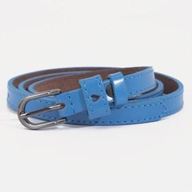 Ремень женский, ширина - 2 см, винт, 2 строчки, пряжка тёмный металл, цвет синий
