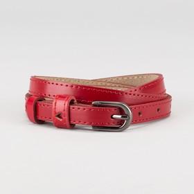Ремень женский, ширина - 2 см, винт, 2 строчки, пряжка тёмный металл, цвет красный