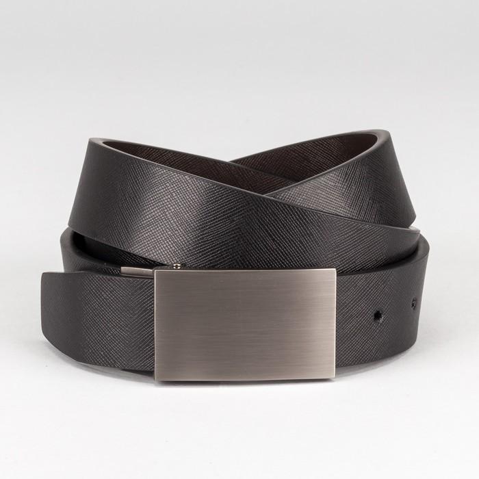 """Ремень мужской """"Кевин"""", пряжка на прокол матовый металл, ширина - 3,5 см, цвет чёрный/коричневый"""