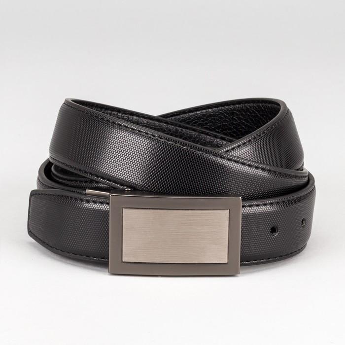 """Ремень мужской """"Лаки"""", пряжка на прокол матовый металл, ширина - 3,5 см, цвет чёрный"""