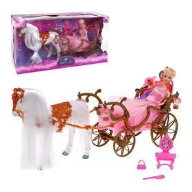 Лошадка ходит с каретой + кукла, световые и звуковые эффекты