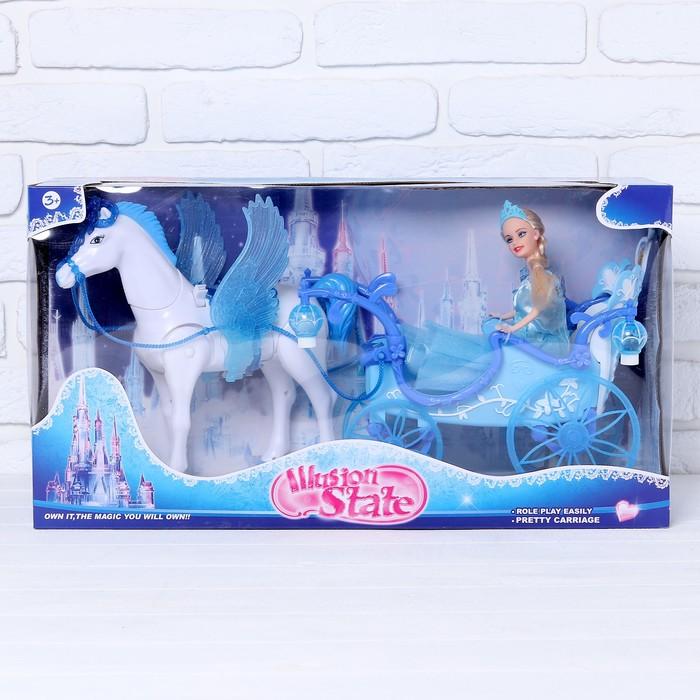 Карета принцессы с куклой, лошадь ходит, машет крыльями и головой