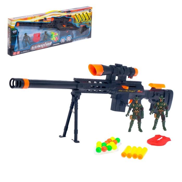 Винтовка «Камуфляжный снайпер», со значком и фигурками, стреляет мягкими пулями